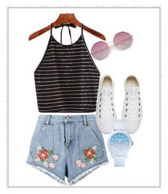 Summer! by jenimarrivera on Polyvore featuring polyvore, fashion, style, House of Holland, Converse, Lacoste and clothing