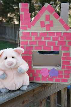 Awesome three sided puppet theater for kids to re-enact The Three Little Pigs
