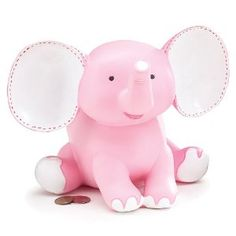 Sissy the Elephant Pink Piggy Bank Adorable Nursery Decor or Kid's Room Decor