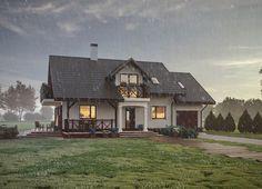 Małe ranczo - Murator C358 Dom o tradycyjnej architekturze, który będzie się pięknie prezentował na dużej działce, w otoczeniu zieleni.  A tak wygląda w deszczowy dzień ;)