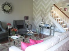 Grey chevrons on a small wall with bright pillows or bright rug!