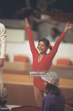 Soviet Union Olga Korbut victorious after balance beam routine at Montreal Forum. Korbut won the silver medal. Montreal, Canada 7/17/1976--8/1/1976