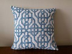 Blue Trellis Decorative Pillow Cover, 18''x18'' Blue/White Trellis Pillow Cover