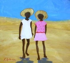 Purchase artwork Two Friends - Acrylic Painting by South African Artist Katharine Ambrose African Artwork, African Paintings, Black Art Painting, South African Artists, African American Art, Beach Scenes, Art Portfolio, Matisse, Sewing Tips
