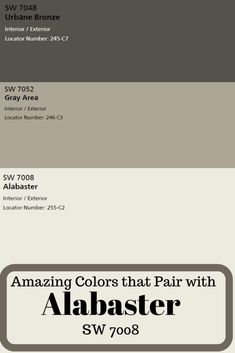 Sherwin Williams Alabaster SW 7008 Because Sherwin Williams Alabaster has the perfect combination of warm and cool neutral undertones, you can use this perfect paint color virtually anywhere. Exterior Color Schemes, Exterior Paint Colors For House, Paint Colors For Home, Exterior Paint Color Combinations, Exterior Design, Cabin Paint Colors, Stucco Colors, Gray Exterior, Farmhouse Paint Colors