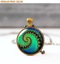 SALE Blue green spiral necklace Hippie Fractal jewelry Bohemian jewelry Photo necklace 60s psychedelic retro necklace for women 5012-4 by StudioDbronze