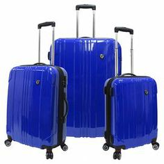 Whether you're packing for the whole family or taking a solo weekend sojourn, this 3-piece rolling luggage set is ideal for all your travels. Showcasing lasting hardshell exteriors and ample storage, these versatile designs are stackable for added ease.  Product: Small, medium and large suitcaseConstruction Material: Polycarbonate, plastic and polyesterColor: BlueFeatures: Stackable   Self-lock handle 360-Degree spinner wheel system Expandable featureLined interiorInterior zippered pocket…