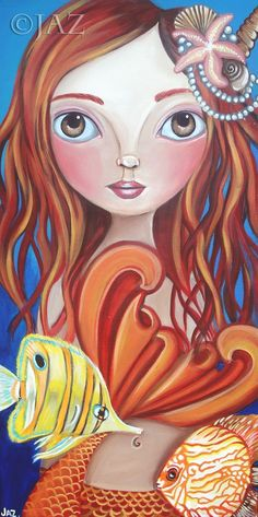 ART PRINT Tropical Mermaid by Jaz Higgins  5x10 by artbyjaz, $11.00