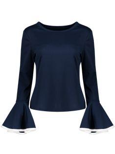 Flare Sleeve Blouse - CADETBLUE S