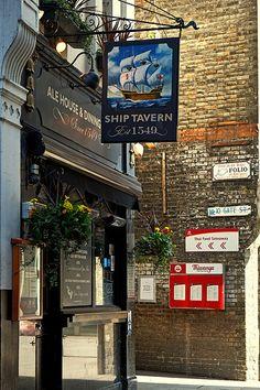 The Ship Tavern (Circa Holborn, London London Pubs, London Places, Old London, Metal Signage, Highgate Cemetery, British Pub, Pub Food, Pub Signs, Secret Rooms