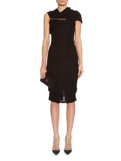 http://www.matchesfashion.com/intl/products/Givenchy-Chain-detail-asymmetric-sleeve-crepe-dress-1036462