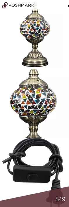 "VINTAGE TURKISH GLASS MOSAIC LAMP SWAN NECK POLE BEAUTIFUL WORK OF ART: Our handmade table lamp can be artfully displayed. It comprises a bronze metal body and swan neck arm with mosaic lantern that make it look pretty and stunning when it is light up at night. - HIGH QUALITY AND DURABLE: Our Turkish Moroccan Handmade Lamps are made using quality materials. They are brand new, personally checked and will not compromise on quality. LED lighting bulb included · Glass Diameter: 5.40"" ""Length…"
