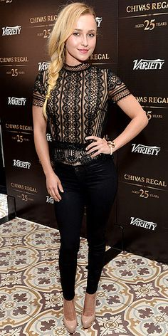 HAYDEN PANETTIERE Were loving Haydens messy braid. As for her J Brand leather pants, lace top and green clutch ensemble at the Variety Emmy Studio event in West Hollywood, Calif., thats up to you to decide. Celebrity Moms, Celebrity Outfits, Celebrity Style, Celebrity Selfies, Celebrity Travel, Hayden Panettiere, Chivas Regal 25, Short Girl Fashion, Skinny Leather Pants