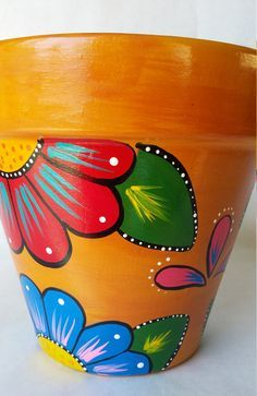 Pottery hand painted flower pot rustic by brilliantexpressions Flower Pot Art, Flower Pot Design, Clay Flower Pots, Flower Pot Crafts, Clay Pots, Flower Paper, Painted Plant Pots, Painted Flower Pots, Clay Pot Projects