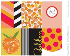 Free Sweet Citrus Pocket Page Journal Cards from Christine Middlecamp