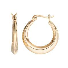 24k Gold Over Silver Hoop Earrings, Women's, Yellow