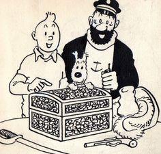 Tintin, Snowy and Captain Haddock with a treasure chest • Tintin, Herge j'aime