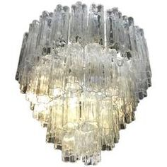 Murano Four Tier Chandelier Glass Italian Italy Tronchi Hollywood Regency