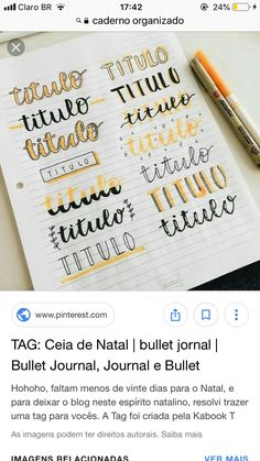 Titulos Halloween Makeup halloween makeup using tissue Lettering Tutorial, Hand Lettering Fonts, Bullet Journal Headers, Bullet Journal Font, Journal Fonts, Book Journal, Projekt Mc2, Journal Design, School Notes