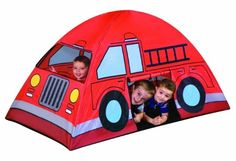 Future firefighters will love to camp out in this fire truck tent. Featuring a dual-sided, roll-open entrance and a mesh window for ventilation and peeking, it also boasts a collapsible frame that makes for assembly-free indoor and outdoor play. Indoor Tent For Kids, Indoor Tents, Outdoor Play, Indoor Outdoor, Games For Kids, Diy For Kids, Truck Tent, Baby F, Baby Boys