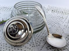 Vintage Bee Hive Crystal Honey Pot, with a Silver Honey Bee Lid,  Made in England