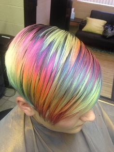 Rainbow Hair Color-hot for 2016 Shown here-short hair, faded rainbow highlights, 7 weeks after coloring amazing multi-color highlights