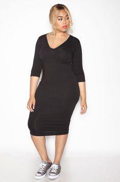 Rebdolls Essential 3/4 Sleeve V-Neck Midi Dress - Black