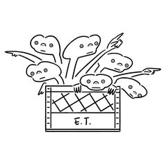 E.T. ETの星ではこんな状態なのかな #et #movie #seijimatsumoto #松本誠次 #art #artwork #draw #graphic #illustration #design #cinema #sf #universalstudios #イラスト #映画