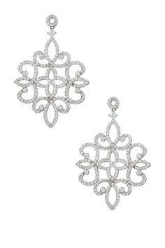 Sterling Silver Pave CZ Ornate Clover Earrings by Adam Marc on @HauteLook