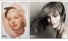 We just experienced a hair/feather craze, but it's not really new. Hair/feathers have been popular at different times throughout the past several decades! Each time, the looks are new and creative. Left: 1943 Lana Turner. Right: British Hairdresser of the Year recipient stylist Angelo Seminara.