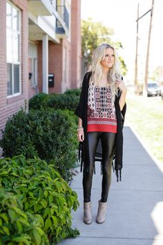 ↞ Apricot Lane Centennial ↠ Black Crochet Cardigan {$48} Faux Leather Legging {$22} Patterned Tank {$28} Call (303)-955-7452 to order- we ship!