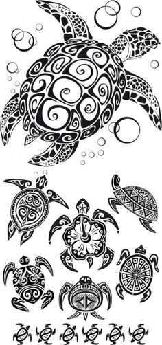 Tribal Turtle Tattoos - great collection of various designs, sizes, and types of turtles