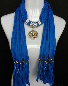 Stylish Silver Medallion Pendant Scarf Wholesale Canada Blue Color on Jewelryscarfcanada.com