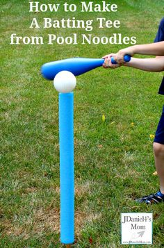 Pool noodles are great for making batting tees to use in your backyard. We found that it took on time at all to make a tee and have it ready to play with. Gross Motor Activities, Steam Activities, Gross Motor Skills, Summer Activities, Preschool Activities, Outdoor Activities, Outdoor Fun For Kids, Diy For Kids, Outdoor Play