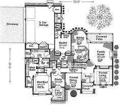First Floor Plan of Country   French Country   Southern   House Plan 66238