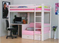Thuka Kids Hochbett, Couch, Lattenrost, Matratze, Schreibplatte und Regal weiß/pink.