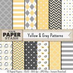 Gray & Yellow Digital Paper Gray Chevron Yellow by YourPaperStash