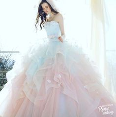 When pink meets blue adorned with sweet floral details, the result is this obsession-worthy Kiyoko Hata bridal gown! Quince Dresses, 15 Dresses, Pretty Dresses, Pastel Wedding Dresses, Bridal Gowns, Wedding Gowns, Modelos Fashion, Fairytale Dress, Quinceanera Dresses