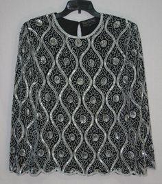 Royal Feelings Black Beaded Sequin Blouse Large Long Sleeve Pure Silk Women's Fashion