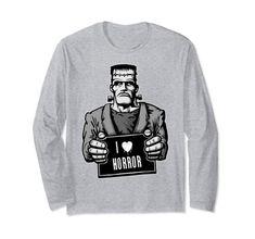 Frankenstein Monster Mugshot Long Sleeve T-Shirt Cool Tees, Cool T Shirts, Graphic Shirts, Graphic Sweatshirt, Amazon Clothes, Mary Shelley, Frankenstein's Monster, Best Tank Tops, Vintage Horror