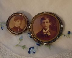 Antique SEPIA Photo Lapel Mourning BROOCH Pin by ABitofNostalgia, $57.00