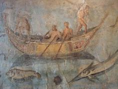 Frescoes of Marine Life found on a wall along the via La Portuense in the river port of San Paolo Rome (125-150 CE) - National Museum of Rome