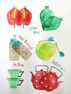 Grüne und rote Dinge aus meiner Küche, 24x32cm,  Aquarell auf Bütten 200g
