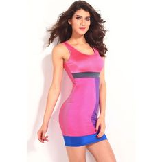Asymmetric Color Stitching Round Neck Beautiful Multicolored Pencil Dress