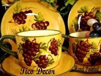 16 pc Dinnerware Set Dinner Set Tuscany Grape Wine Decor & grapevine dishes   16 Piece Ceramic Dinnerware Set with Grape Design ...