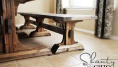 DIY Furniture ~ Triple Pedestal Bench
