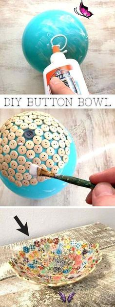 Easy and cheap craft ideas for kids and adults. I love this button bowl using just a balloon, buttons and glue! It's perfect for keys, jewelry or to sell! #EverydayArtsandCrafts<br> Diy Craft Projects, Diy Projects For Adults, Easy Diy Crafts, Diy Crafts To Sell, Diy Crafts For Kids, Craft Ideas, Sell Diy, Arts And Crafts, Diy Ideas