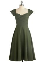 -Exclusive ModCloth dress. 50's inspired cut, cap sleeved, party dress by 'Stop Staring!'.