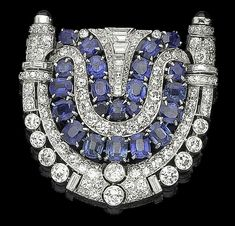 Blue Cushion Baguette Round white Brooch 925 Sterling Silver Big Dressy bezel #NIKIGEMS #amazingjewelry
