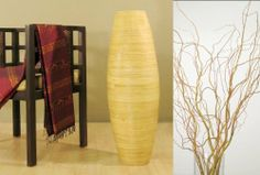 "36 in. Tall Natural Cylinder Floor Vase and Free Curly willow by Green Floral Crafts. Save 25 Off!. $89.99. Floor vase plus branches stands 6 feet tall. Free branches Value $20 with purchase of this vase in any color. Bamboo vase available in your choice of mahogany red, cocoa brown, or light natural bamboo. Tall, handcrafted bamboo vase is 3 feet tall x 11 dia. at the wides part, top opening 7"" dia.. Branches available in your choice of natural Birch or Curly willow, Natural vase comes..."